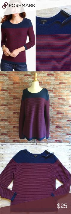 """Talbots colorblock striped zip Shoulder sweater Navy colorblock aweatwrnwith red pinstripes and a functional shoulder zipper. Ribbed hem, cuffs and collar. Gently loved. Cotton, rayon, nylon. 28.5""""L. 22"""" bust laying flat. Size Large. Talbots Sweaters Crew & Scoop Necks"""