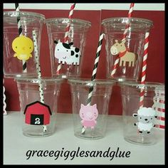 Personalized Farm Animal Themed Party Cups With Straws And - This Listing Is For Oz Personalized Farm Or Barnyard Bash Themed Plastic Party Cups That Come With Matching Striped Straws And Lids These Are Sturdy Durable One Time Use Cups The Cups Also Co # Party Animals, Farm Animal Party, Farm Animal Birthday, Barnyard Party, Farm Birthday, Farm Party, Cowgirl Birthday, First Birthday Parties, First Birthdays