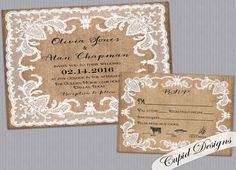 Burlap and lace romantic wedding invitation and RSVP card suite. on Etsy, $3.90