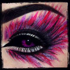 Bold Purple and Pink Eye Makeup.