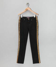 Take a look at this Black & Gold Tuxedo Stripe Skinny Pants - Girls by Crest Sport on #zulily today!