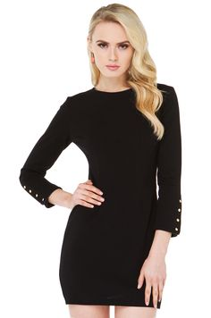 Classy Black Pleather Trimmed Bodycon Mini Dress | Going Out Dresses | AKIRA