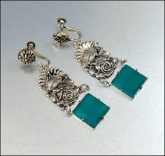 Chrysoprase Glass Silver Czech Earrings Art Deco