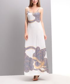 Look at this White & Blue Cloud Maxi Dress on #zulily today!