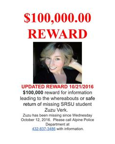 UPDATED REWARD AS OF FRIDAY, OCTOBER 21, 2016
