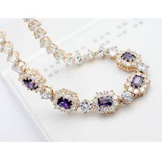 Elegant Golden Swarovski Crystal Sterling Silver Chokers Necklace。
