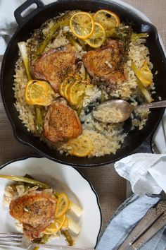 Baked Risotto with Chicken, Lemon, and Scallions 4 Chicken Thighs (bone-in, skin-on), excess skin and fat removed 2 cloves Garlic, sliced 2 bunches (about 16) Scallions, root end trimmed off, dark green tops removed 1 c. Arborio Rice 1 c. Dry White Wine 1 small Thin-Skinned Lemon, thinly sliced about 2 c. Chicken Stock (homemade or low-sodium) Fresh Thyme or Rosemary Parmesan Cheese