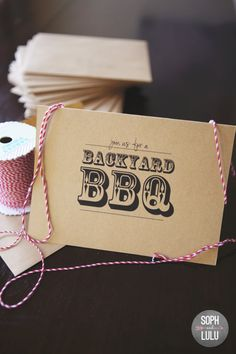 Prepared picnic for two from Peanut Butter DIY Backyard BBQ Invites. Should get these for company picnic For my next picnic. Image Via: Tha. Invitation Fonts, Invitation Paper, Party Invitations, Invites, Graduation Invitations, Invitation Ideas, Bbq Grill Diy, Barbecue, Grilling