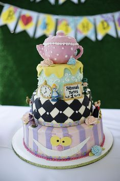 Check out this cake at an Alice in Wonderland birthday party! See more party ideas at CatchMyParty.com!