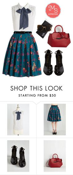 """Professional in Progress Top"" by modcloth ❤ liked on Polyvore featuring BC Footwear and Quay"