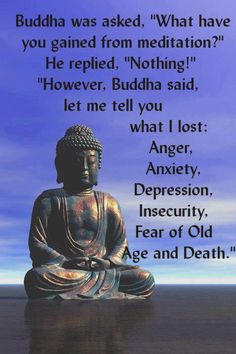 "Buddha was asked, ""What have you gained from meditation?"" He replied, ""Nothing! However, let me tell you what I have lost: anger, anxiety, depression, insecurity, fear of old age, and death."""