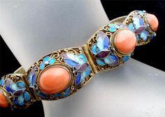 Chinese Export Coral Gilded Silver Cloisonne Enamel Butterfly Bracelet Vintage | eBay
