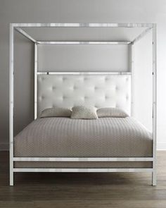 Beds/Headboards - Bernhardt Magdalena Bed I Horchow - mirrored bed, mirrored canopy bed, mirrored four poster bed, mirrored bed with upholstered headboard,
