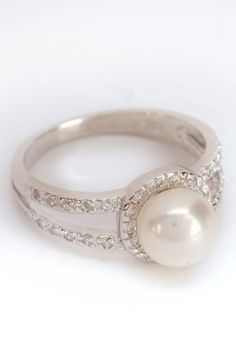 Elegant Freshwater Pearl Ring In White. Love it.