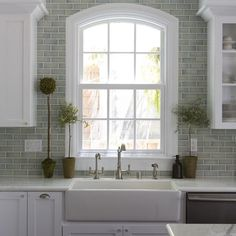 A whole page of backsplash ideas :: Walker Zanger Mizu Pebble 4x4 Backsplash Design Ideas, Pictures, Remodel, and Decor