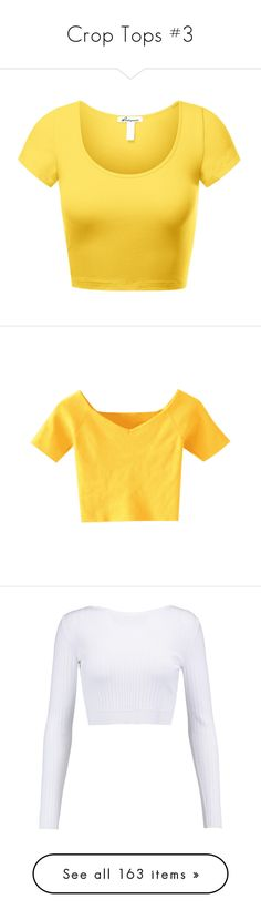 """""""Crop Tops #3"""" by ultimateginger ❤ liked on Polyvore featuring tops, cut-out crop tops, scoop neck top, scoopneck top, short sleeve tops, scoop neck crop top, off-shoulder tops, yellow off the shoulder top, crop top and yellow top"""