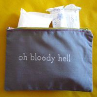 "Indiscreet ""oh bloody hell"" Zip Pouch for Tampons, Menstrual Pads, Feminine Products hahaha"