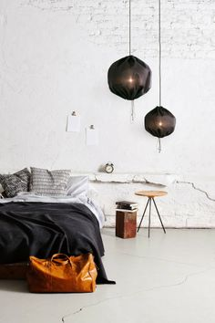 Bedroom and Kuu lamp by OneNordic via Little Helsinki