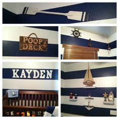 Nautical boy nursery. Love the stripes (although I'd add some light colored paint in there as well to tone down the blue), would place decals differently- but cute.