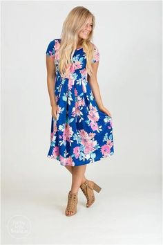Floral Pleated Pocket Midi