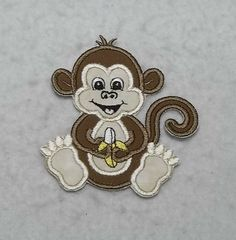 Monkey - MADE to ORDER - Choose SIZE - Tutu & Shirt Supplies - fabric Iron on Applique Patch 8109 by TheFabricScene on Etsy