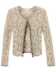 Moda a Crochet Crochet Coat, Crochet Jacket, Crochet Cardigan, Crochet Clothes, Irish Crochet, Hand Crochet, Crochet Granny, Moda Crochet, Beaded Jacket