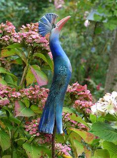 Keramik - Gartenkeramik kleiner türkis-blauer PARADIESVOGEL - ein Designerstück von Brigitte_Peglow bei DaWanda