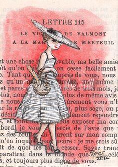 wenn du ein altes Buch für dein Art Journal benutzt dann lass die Seite unbehandelt, zeichne etwas hinein und male den Hintergrund dann in einer kräftigen Farbe