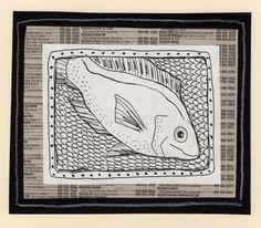 Fish - Pen Drawing, Colored Pencil, Phone Book Page: animals, sea life, mixed media.