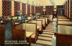 old photos of Jamestown ND | Jamestown North Dakota ND 1950 Interior Moline Cafe Vintage Linen ...