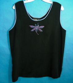 06ea278e5e2763 Bob Mackie Dragonfly Womens Silk Top L Black Embroidered Art You Wear Blue  Pink  BobMackie