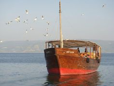 A beautiful day on the Sea of Galilee. We rode a ship like this across the Sea of Galilee. What fun it was.