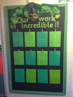 Miss Lynch's Class: Hulk Display / Memo Board - An attention grabbing work display board that kids are sure to love. Year 2 Classroom, Classroom Display Boards, Superhero Classroom Theme, Eyfs Classroom, Classroom Organisation, Classroom Themes, Primary Classroom Displays, School Display Boards, Nursery Display Boards