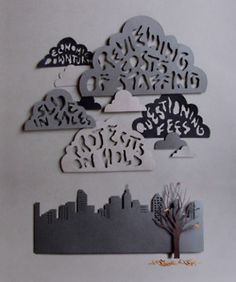 Love this idea, words in clouds  paper cut