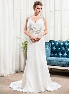 Trumpet/Mermaid V-neck Court Train Chiffon Charmeuse Wedding Dress With Beading Sequins Cascading Ruffles