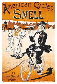 American Cycles Snell by Oge 1901 France - Vintage Poster Reproduction. This French transportation poster features a man in a tuxedo smoking a cigarette riding a bike past a man in white holding a fishing pole. Giclee Advertising Print. Classic Posters