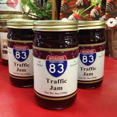 The jam is made from a blend of five fruits jammed into jars labeled with Pennsylvania Interstate signs.