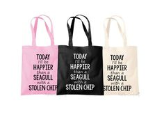 Seaside Bag Beach Bag Seagull Quote Bird Quote by TheHenCompany