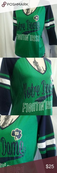 🍒NWT Notre Dame Baseball T ❤New with tags❤ Notre Dame Fighting Irish baseball t-shirt, very vibrant colors, polyester rayon blend , V-neck , 3/4 sleeve , machine washable.  PLEASE ASK ANY AND ALL QUESTIONS BEFORE PURCHASING THIS ITEM. Colosseum Tops Tees - Long Sleeve