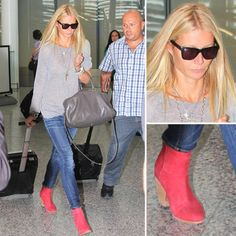 Gwyneth Paltrow in red ankle boots by StalkER