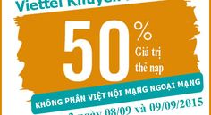 Khuyến mãi 50% giá trị thẻ nạp từ 08/09 đến 09/09/2015 - 3G Viettel