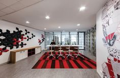 Gray Puksand has completed the design of Australia Post new offices located in the heart of Melbourne, Australia. spans levels of the office Office Wall Design, Office Wall Decor, Office Walls, Visual Merchandising, Office Themes, Branding, Workplace Design, Design Furniture, Melbourne Australia