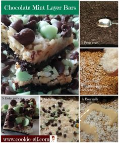 Chocolate Mint Layer Bars: ingredients, directions, and a special tip from The Elf to make Chocolate Mint Layer Bars, a yummy Christmas bar cookie. Drop Cookie Recipes, Cake Mix Cookie Recipes, Chocolate Cookie Recipes, Cake Mix Cookies, Chocolate Chip Cookies, Oatmeal Cookies, Sandwich Cookies, Cupcakes, Cherry Cookies