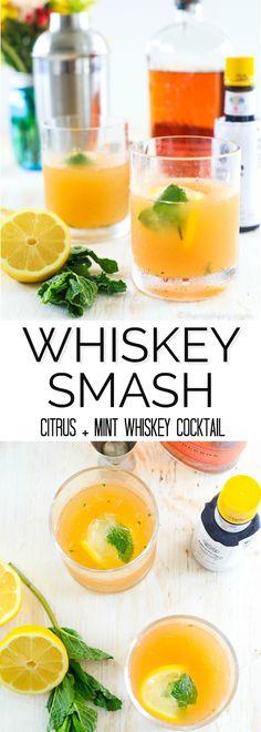 Whiskey Smash | Citrus + Mint Whiskey Cocktail http://thenoshery.com/whiskey-smash/?utm_campaign=coschedule&utm_source=pinterest&utm_medium=The%20Noshery&utm_content=Whiskey%20Smash%20%7C%20Citrus%20%2B%20Mint%20Whiskey%20Cocktail | The Noshery