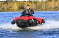 The Quadski, a one-person motor boat that also drives on land, is tested in in Oxford Mich.