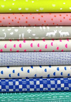Alexia Marcelle Abegg for Cotton and Steel, Print Shop, Day Glow in FAT QUARTERS 8 Total