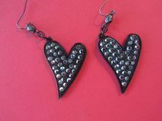 Black Heart Earrings, Valentine Earrings, Black Rhinestone Earrings, Valentine Jewelry,Valentine Gifts,Heart Jewelry,Black Earrings,Earrings by BrownBeaverBeadery on Etsy