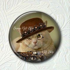 Pocket Mirror  Steampunk Kitty Buy 3 get 1 Free 302-S