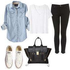 denim shirt + black jeans + white converse = classic combo!
