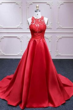 Red satin strapless long customize formal prom dress with lace appliqué